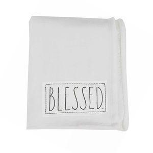 🆕 Rae Dunn Blessed Plush White Throw Blanket NWT